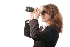 Business woman with binoculars - isolated Stock Photo