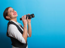 Business woman with a binoculars Royalty Free Stock Photos