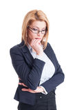 Business woman bitting nails Stock Photography