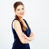 Business woman in black dress . Royalty Free Stock Photos