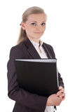 Business woman with black file folder Royalty Free Stock Photo