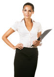 Business woman with black folder Stock Images