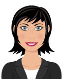 Business Woman with Black Hair Gray Eyes Royalty Free Stock Image