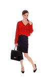 Business woman with black purse. Royalty Free Stock Photos