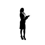 Business Woman Black Silhouette Full Length Holding Document Over White Background. Vector Illustration Royalty Free Stock Photo