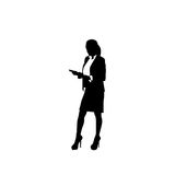 Business Woman Black Silhouette Full Length Holding Document Over White Background. Vector Illustration Stock Images