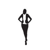 Business Woman Black Silhouette Full Length Over White Background. Business Woman Black Silhouette Standing Full Length Over White Background Vector Illustration Royalty Free Stock Images