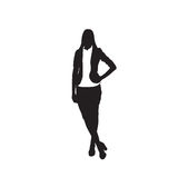 Business Woman Black Silhouette Full Length Over White Background. Business Woman Black Silhouette Standing Full Length Over White Background Vector Illustration Stock Photography
