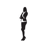 Business Woman Black Silhouette Full Length Over White Background Stock Photo