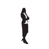 Business Woman Black Silhouette Full Length Over White Background. Business Woman Black Silhouette Standing Full Length Over White Background Vector Illustration Royalty Free Stock Photography