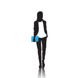 Business Woman Black Silhouette Full Length Over White Background. Vector Illustration Royalty Free Stock Images