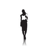 Business Woman Black Silhouette Full Length Over White Background Royalty Free Stock Photo