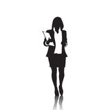 Business Woman Black Silhouette Full Length Over White Background Stock Image