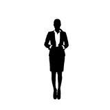 Business Woman Black Silhouette Full Length Over White Background. Vector Illustration Royalty Free Stock Image