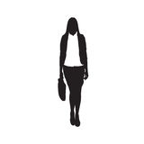 Business Woman Black Silhouette Hold Briefcase Standing Full Length. Over White Background Vector Illustration Stock Photos