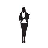 Business Woman Black Silhouette Holding Folder Full Length Over White Background Royalty Free Stock Photo