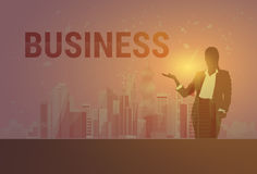 Business Woman Black Silhouette Open Palm To Copy Space Over Modern City Background. Vector Illustration Royalty Free Stock Photography