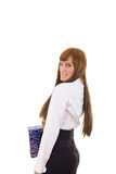 Business woman in black skirt and white shirt Royalty Free Stock Photo
