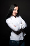Business woman on black Stock Photos