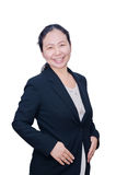 Business woman in black suit Royalty Free Stock Image