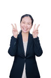 Business woman in black suit Stock Image