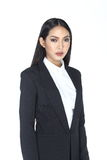 Business woman in black suit and trouser long hair Stock Images