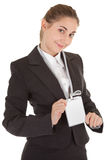 Business woman with blank badge Royalty Free Stock Image