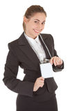 Business woman with blank badge. Portrait of woman in business clothing with blank badge Royalty Free Stock Photo