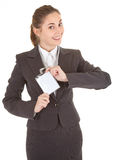 Business woman with blank badge Royalty Free Stock Images