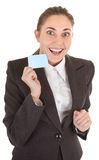 Business woman with blank badge Stock Images