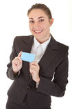 Business woman with blank badge Royalty Free Stock Photography