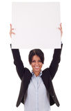 Business woman with blank board Royalty Free Stock Photo