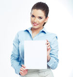 Business woman, blank board isolated portrait . Royalty Free Stock Photos