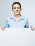 Business woman, blank board isolated portrait . Royalty Free Stock Photo