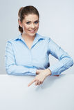 Business woman, blank board  portrait . Stock Photos