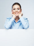 Business woman, blank board  portrait . Royalty Free Stock Photo