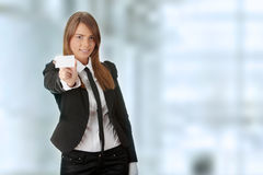 Business woman with blank business card Stock Images