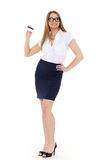 Business woman with blank business card. Royalty Free Stock Photos