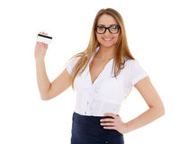 Business woman with blank business card. Stock Photo