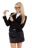 Business woman with blank business card. Royalty Free Stock Photo