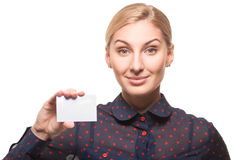 Business woman with a blank business card Royalty Free Stock Photo