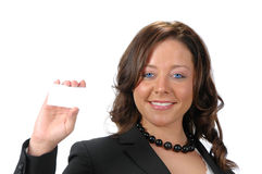 Business woman with blank card Royalty Free Stock Photo