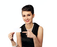 Business woman with blank card Stock Photography
