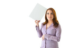 Business Woman with Blank Card. Business woman thinking with blank white card on her head to be filled in with any idea or concept Stock Photo