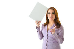 Business Woman with Blank Card Royalty Free Stock Images