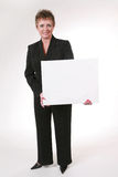 Business woman with blank message board Royalty Free Stock Photography