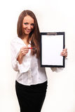 Business woman. With blank page on clip board facing camera Stock Image