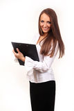Business woman. With blank page on clip board facing camera Stock Photography
