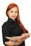 Business woman with blank paper Royalty Free Stock Images