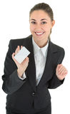 Business woman with blank payment card Royalty Free Stock Photo